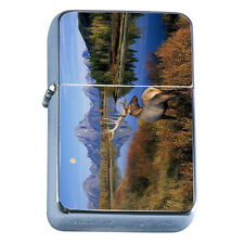 Windproof Refillable Flip Top Oil Lighter Deer D5 Stag Horned Buck Forest Animal