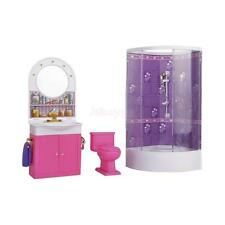 1 Set Dollhouse Furniture Bathroom+Shower+Toilet Table + Bathtub For Barbie