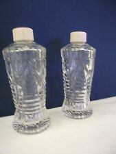2 Vintage Glass  Empty Perfume Bottles Decorative Avon Clear with white plastic