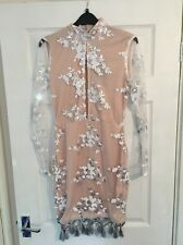 Pretty Little Thing Embellished Nude Cut Out Tassel Dress BNWT Size 10