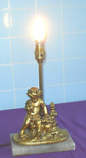 VINTAGE FRENCH 1930/40s GOLD GILT CHERUB PUTTI HOLDING BIRD ON MARBLE BASE LAMP