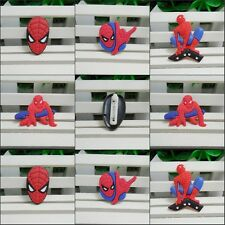 Rubber Cartoon Spider Man Badges Pin Button for Decoration Kid Party Gifts 8pcs