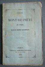 CRISE du Mont de Piété de Paris. Richelot 1844.