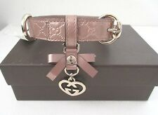 AUTHENTIC Gucci  Dog Collar  GG Embossed Leather Logo Microguccissima  Medium