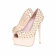 NEW KURT GEIGER KG NUDE ERIS STUDDED PATENT STILETTO SHOES..UK 3   EU 36