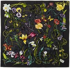 """GUCCI charcoal black background INFINITY FLORA Silk 35"""" Scarf NWT Authentic $440"""