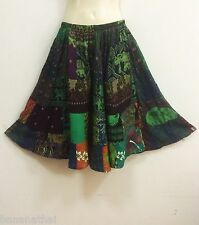 PEASANT BOHO GREEN PATCHWORK ABOVE KNEE SHORT SKIRT CASUAL RAYON ELEPHANT S M L