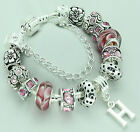PERSONALISED GIRLS PINK SILVER CHARM BEAD BRACELET BIRTHDAY PRESENT GIFT BOXED