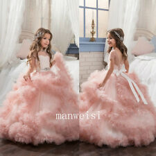 2017 Pink Princess Puffy Ball Gown Kid Dresses Wedding Bridal Flower Girls Dress