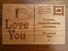 Personalised Wooden Postcard greeting card - Wedding Anniversary / Birthday
