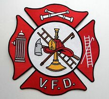 VOLUNTEER FIRE DEPT FIREFIGHTER EXTRA LARGE EMBROIDERED PATCH 10 INCHES