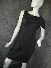 AMAZING NEW + TAGS * LEON MAX * STRETCH DRAPEY LBT BLACK  DRESS SIZE M 8 - 10