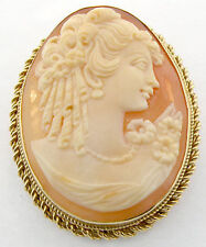 LADIES 14K YELLOW GOLD SHELL CAMEO PIN PENDANT BROOCH