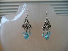 Aqua Chandelier Earrings with Antique Silver Coloured Findings. Pierced Ears