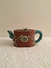 Antique Chinese Yixing Enameled High Relief Teapot Republic Period Signed