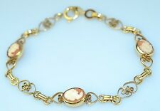 "VINTAGE GOLD FILLED FILIGREE HAND CARVED SHELL 3 CAMEO LINK BRACELET 7.5"" LONG"