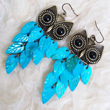Stylish Cute Womens Metal Owl Head Blue Feather Chandelier Dangle Hook Earrings