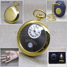 Rare JACK DANIELS GOLD Mens Pocket Watch Leather Pouch Chain Gift Box Set P250