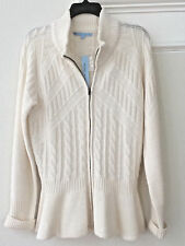 L Antonio Melani Sweater Winter White Zip Frnt Cardigan Merino Wool Blnd NWT$169