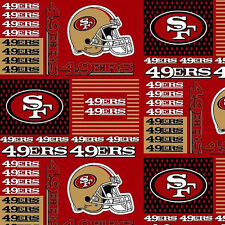 """NFL San Francisco 49ers 6434D Red 100% Cotton 60"""" Fabric by the yard"""