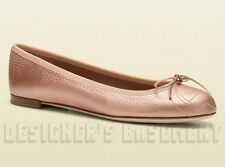GUCCI pink 38.5 Leather SOHO embroidered INTERLOCKING G ballet shoes NIB Authent