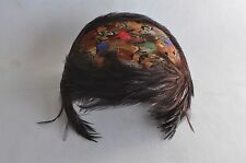 Vintage Feather Hat Cap Headband Band Flapper Cloche Fascinator Pheasant Womens