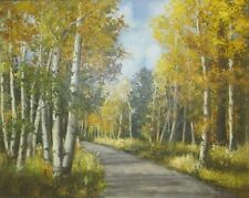 BEAUTIFUL AUTUMN FOREST LANDSCAPE BIRCH TREES- OIL ON CANVAS - SIGNED R. HUGHES