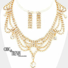 CLEAR ON GOLD RHINESTONE CRYSTAL PROM WEDDING FORMAL NECKLACE JEWELRY SET TRENDY