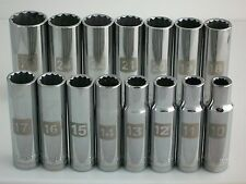 NEW Craftsman 15pc 1/2 Metric/mm Dual-Mrk Deep Laser Ratchet Socket Wrench Set *