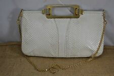 VINTAGE MODELL ROYAL white snakeskin handbag c.1970s/1980s chain strap leather