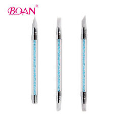 3Pcs/Set Acrylic Handle with Blue Rhinestones Nail Art Silicone Rubber Brush