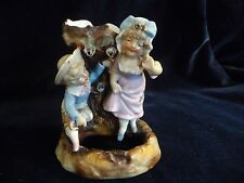 "antique porcelain victorian painted flower vase Boy & Girl 4 3/4"" T x 3 3/4"" W"