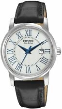 Ladies Citizen Eco-Drive Black Leather Roman Numerals Date Watch EW1568-04A