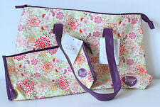 Tote Bag & Matching Make-up Cosmetics Bag in Cream with Purple Liner & Zipper