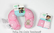 New Carter's Child of Mine Pink Monkey Head Support Travel Neckroll Strap Covers