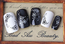 Black & White Blossom Flowers Water Transfers Nail Art Sticker Decals Decoration