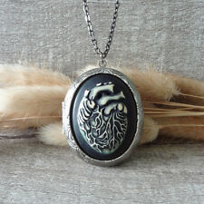 Anatomical Heart Oxidized Silver Heart Picture Locket Pendant Statement Necklace