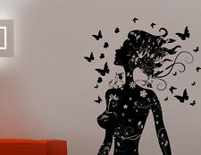 Wall Decal Pretty Butterfly Beauty Salon Woman Abstract Hair Sticker Removeable