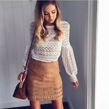 Sweet Women's Girl's Fashion Casual Sexy Hollow Lace Puff-Sleeved T-Shirt Top