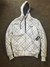 Billabong Medium Zip Up Hoodie Sweatshirt White Gray Grey