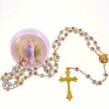 Blue pink rose flower Our Lady of Lourdes rosary beads in round box gold chain
