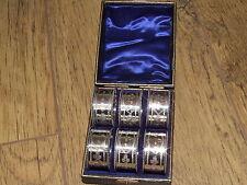 BELLISSIMA DECORATA rara serie di sei Vittoriano 1896 portatovaglioli ad anello & Scatola Originale