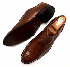 MERCANTI FIORENTINI NEW BROGUED WING TIP OXFORDS WHISKEY MADE IN ITALY US 10.5 M