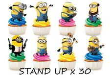 30 Minions STAND UP Cupcake Fairy Cake Toppers Edible Paper Decorations