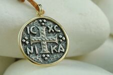 Authentic A.LeONDARAKIS Byzantine Coin Cross/Pendant - Handmade 14K & .925