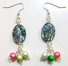 Handmade Drop Abalone Shell Gemstones Silver Plated Dangle Earrings