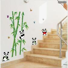Mural Vinyl Wall Sticker Removable Cute Panda Eating Bamboo Nursery Room Sticker