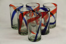 Mexican Red Blue Stripe Juice Glasses Drinking Mexico Hand Blown Set 6 Glass