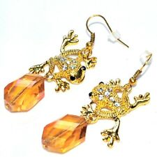 bijou Boucles d'oreilles alliage doré pendant grenouille cristal orange earring