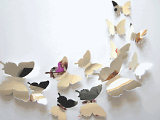 12PCS Mirror Wall Art Wall Stickers Decal 3D Butterflies Home Decors Mural Hot
